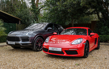 Porsche 718 Cayman and Macan Turbo - Two Car Garage