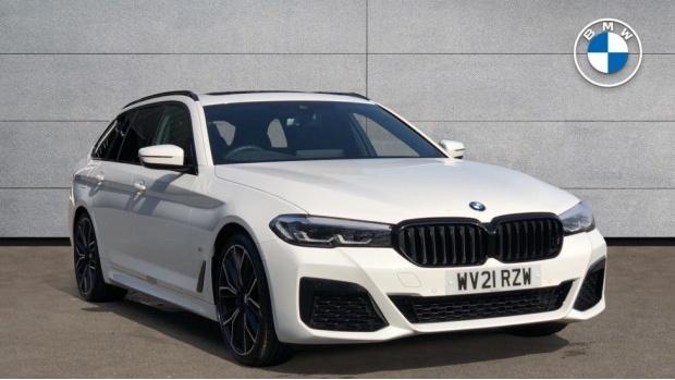 2021 BMW 520d M Sport Touring (White) - Image: 1